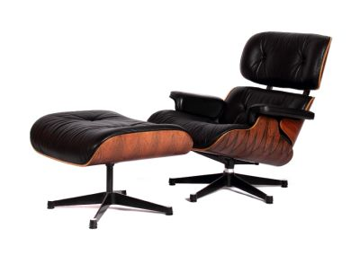 Ray & Charles Eames, Lounge Chair mit Ottomane, 1980er Jahre, Design