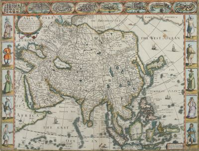 "John Speed, ""Asia, with the Islands adioyning described, the atire of the people, & Townes of importance"", 1626, Grafik"